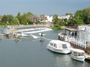Marlow Weir straddling The River Thames in England.