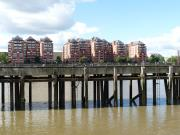 A wharf near Battersea - the buildings are not really built on top of it.