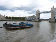 Thames Barges with Tower Bridge in the distance, London.