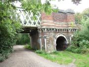 One of the brick ends of Kew's railway bridge - River Thames, London, England.