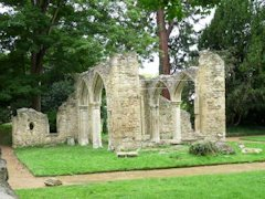 Abbey ruins within the gardens at Abingdon, Oxfordshire.