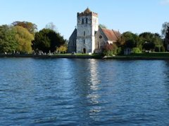 Bisham Church seen from The Thames Path in England.