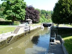 Cookham Lock in a beautiful setting  - River Thames, England.
