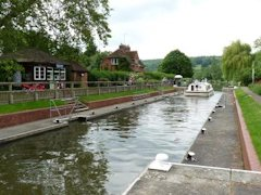 Mapledurham Lock on the River Thames in England.