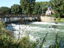 Northmoor weir featuring it's now unique paddle and rymer sluice controls - England.