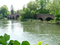 The very old brickSonning Bbridge going over The River Thames, England.