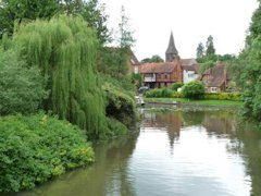 The old Mill at Whitchurch on Thames seen from the Thames Path, England.